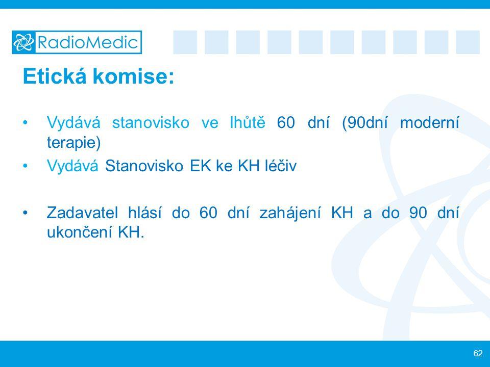 Etická komise: Vydává stanovisko ve lhůtě 60 dní (90dní moderní terapie) Vydává Stanovisko EK ke KH léčiv Zadavatel hlásí do 60 dní zahájení KH a do 9