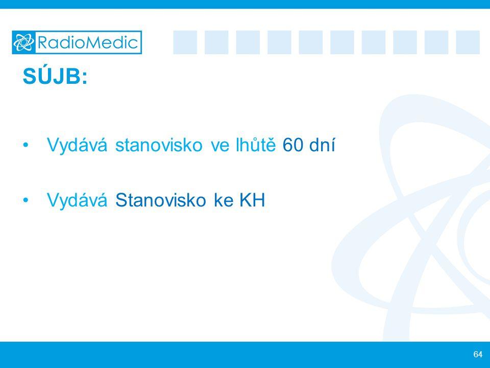 SÚJB: Vydává stanovisko ve lhůtě 60 dní Vydává Stanovisko ke KH 64