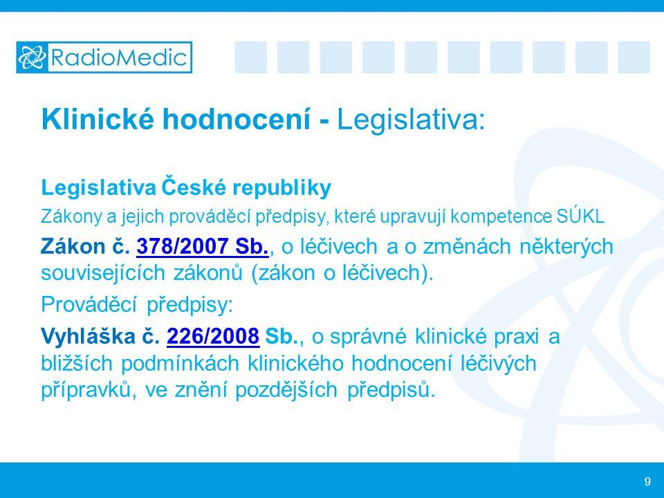 Klinické hodnocení - Legislativa: Legislativa České republiky Zákony a jejich prováděcí předpisy, které upravují kompetence SÚKL Zákon č. 378/2007 Sb.