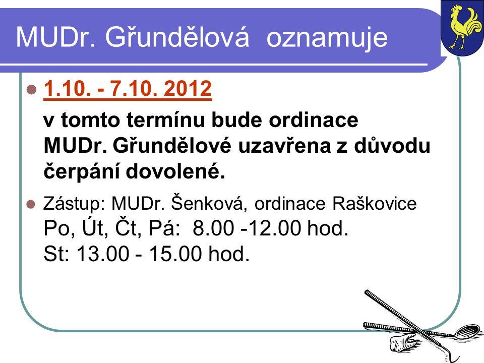 MUDr. Gřundělová oznamuje 1.10. - 7.10. 2012 v tomto termínu bude ordinace MUDr. Gřundělové uzavřena z důvodu čerpání dovolené. Zástup: MUDr. Šenková,