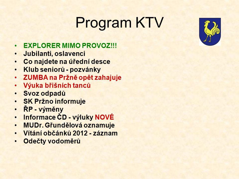 Program KTV EXPLORER MIMO PROVOZ!!! Jubilanti, oslavenci Co najdete na úřední desce Klub seniorů - pozvánky ZUMBA na Pržně opět zahajuje Výuka břišníc