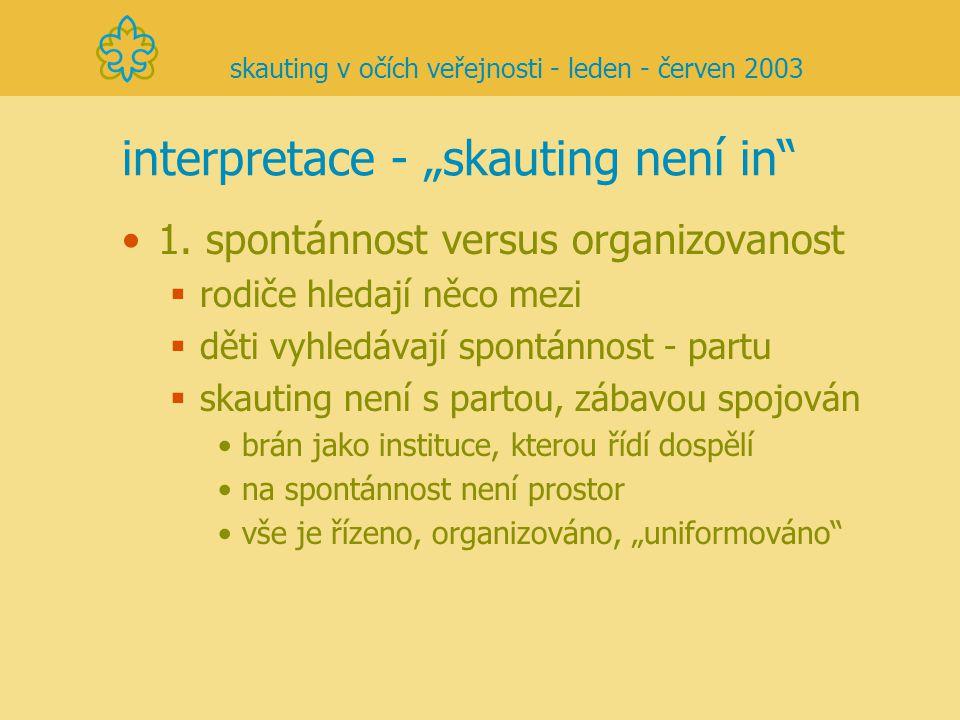 """interpretace - """"skauting není in"""" 1. spontánnost versus organizovanost  rodiče hledají něco mezi  děti vyhledávají spontánnost - partu  skauting ne"""