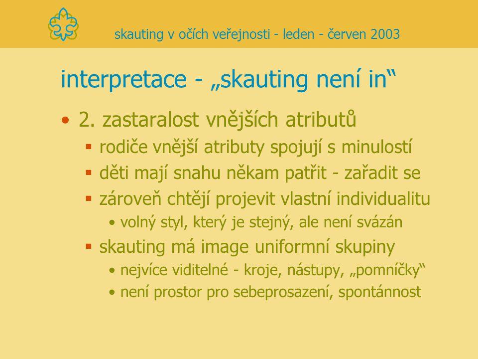 """interpretace - """"skauting není in"""" 2. zastaralost vnějších atributů  rodiče vnější atributy spojují s minulostí  děti mají snahu někam patřit - zařad"""