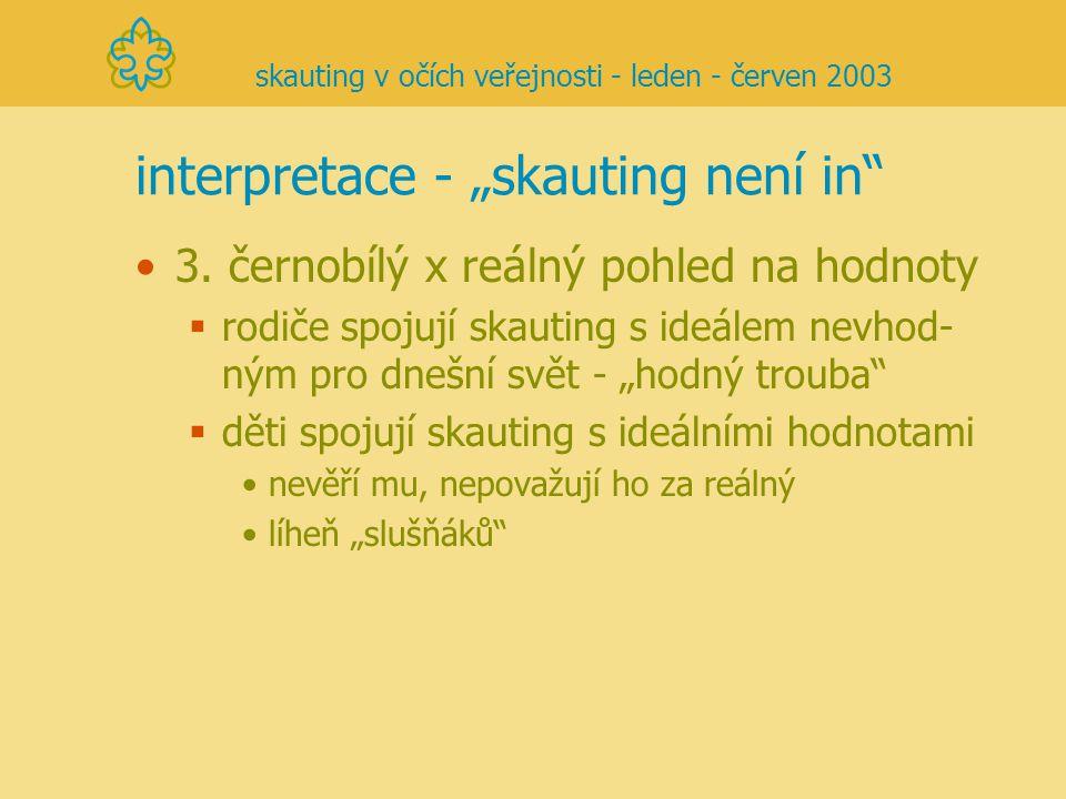 """interpretace - """"skauting není in"""" 3. černobílý x reálný pohled na hodnoty  rodiče spojují skauting s ideálem nevhod- ným pro dnešní svět - """"hodný tro"""