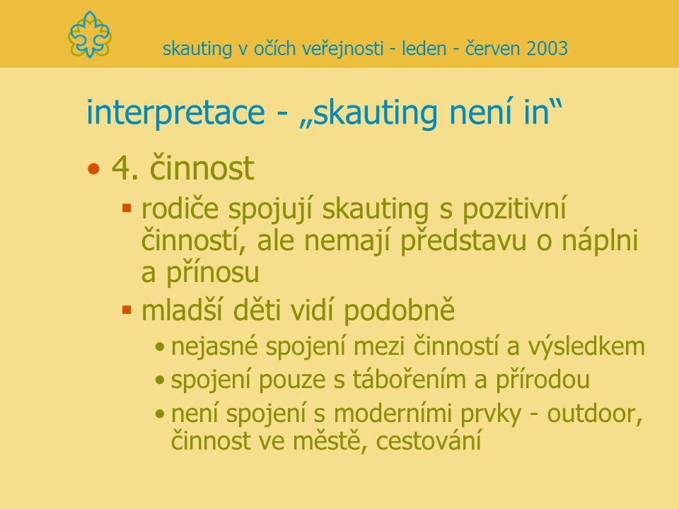 """interpretace - """"skauting není in"""" 4. činnost  rodiče spojují skauting s pozitivní činností, ale nemají představu o náplni a přínosu  mladší děti vid"""