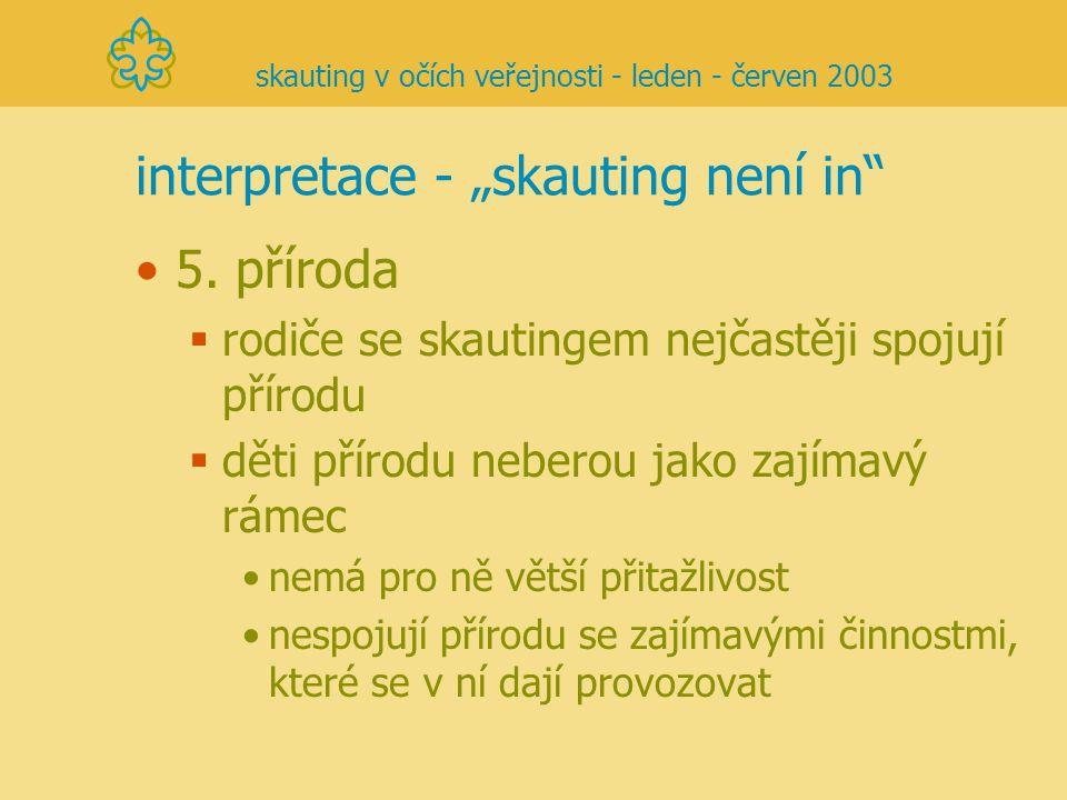 """interpretace - """"skauting není in"""" 5. příroda  rodiče se skautingem nejčastěji spojují přírodu  děti přírodu neberou jako zajímavý rámec nemá pro ně"""