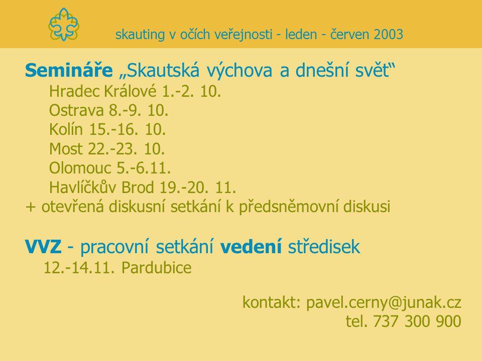 """Semináře """"Skautská výchova a dnešní svět"""" Hradec Králové 1.-2. 10. Ostrava 8.-9. 10. Kolín 15.-16. 10. Most 22.-23. 10. Olomouc 5.-6.11. Havlíčkův Bro"""