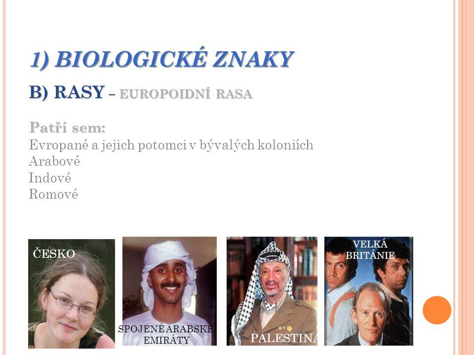 1) BIOLOGICKÉ ZNAKY B) RASY – EUROPOIDNÍ RASA Patří sem: Evropané a jejich potomci v bývalých koloniích Arabové Indové Romové OČÍ A VLASŮ KOLÍSÁ V ŠIROKÉM ROZMEZÍ SILNĚ VYTVOŘENÉ VOUSY U MUŽŮ SVĚTLÁ KŮŽE ÚZKÝ NOS RVA OČÍ A VLASŮ KOLÍSÁ V ŠIROKÉM ROZMEZÍ SILNĚ VYTVOŘENÉ VOUSY U MUŽŮ SVĚTLÁ KŮŽE ÚZKÝ NOS ČESKO SPOJENÉ ARABSKÉ EMIRÁTY PALESTINA VELKÁ BRITÁNIE