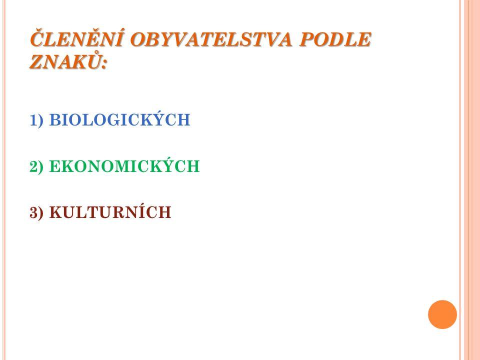 ČLENĚNÍ OBYVATELSTVA PODLE ZNAKŮ: 1) BIOLOGICKÝCH 2) EKONOMICKÝCH 3) KULTURNÍCH