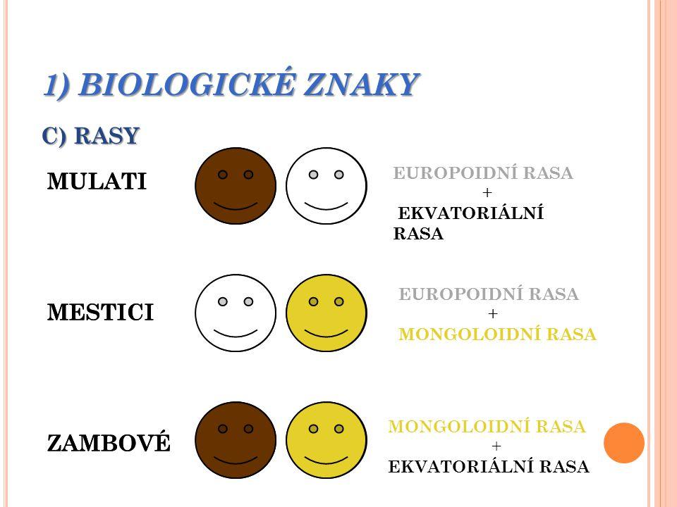 1) BIOLOGICKÉ ZNAKY C) RASY MULATI MESTICI ZAMBOVÉ EUROPOIDNÍ RASA + EKVATORIÁLNÍ RASA EUROPOIDNÍ RASA + MONGOLOIDNÍ RASA + EKVATORIÁLNÍ RASA MULATI MESTICI ZAMBOVÉ EUROPOIDNÍ RASA + EKVATORIÁLNÍ RASA EUROPOIDNÍ RASA + MONGOLOIDNÍ RASA