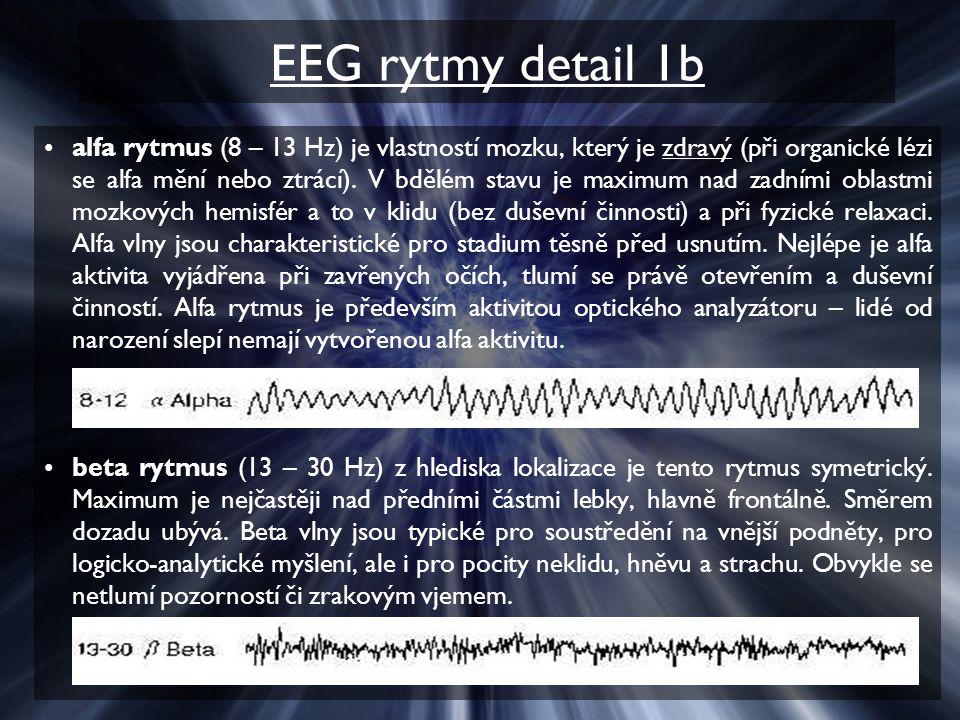 EEG rytmy detail 1b alfa rytmus (8 – 13 Hz) je vlastností mozku, který je zdravý (při organické lézi se alfa mění nebo ztrácí).