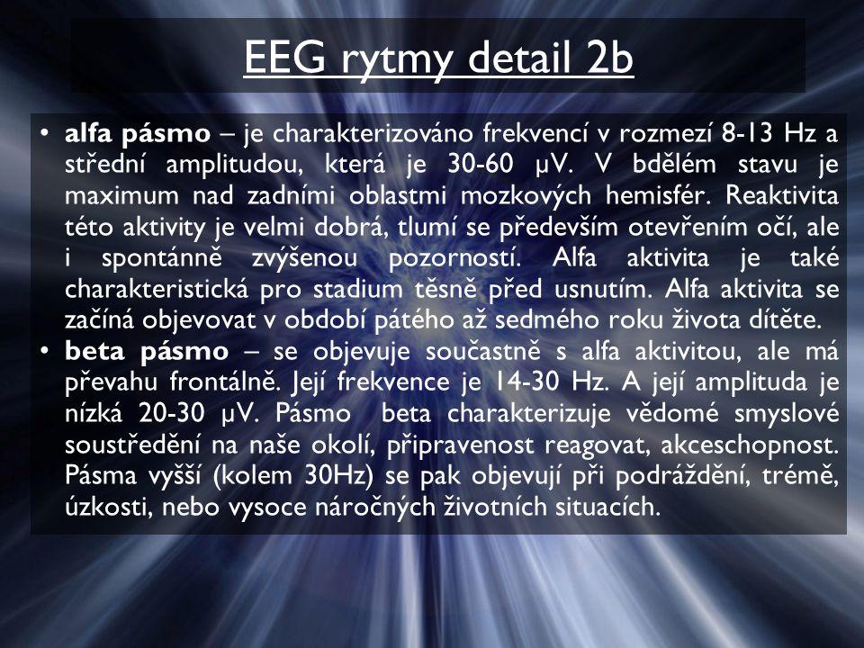 EEG rytmy detail 2b alfa pásmo – je charakterizováno frekvencí v rozmezí 8-13 Hz a střední amplitudou, která je 30-60 µV.