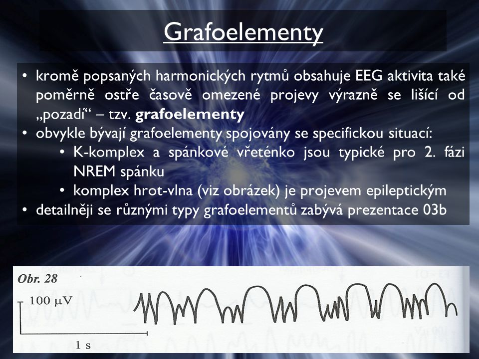 """Grafoelementy kromě popsaných harmonických rytmů obsahuje EEG aktivita také poměrně ostře časově omezené projevy výrazně se lišící od """"pozadí – tzv."""