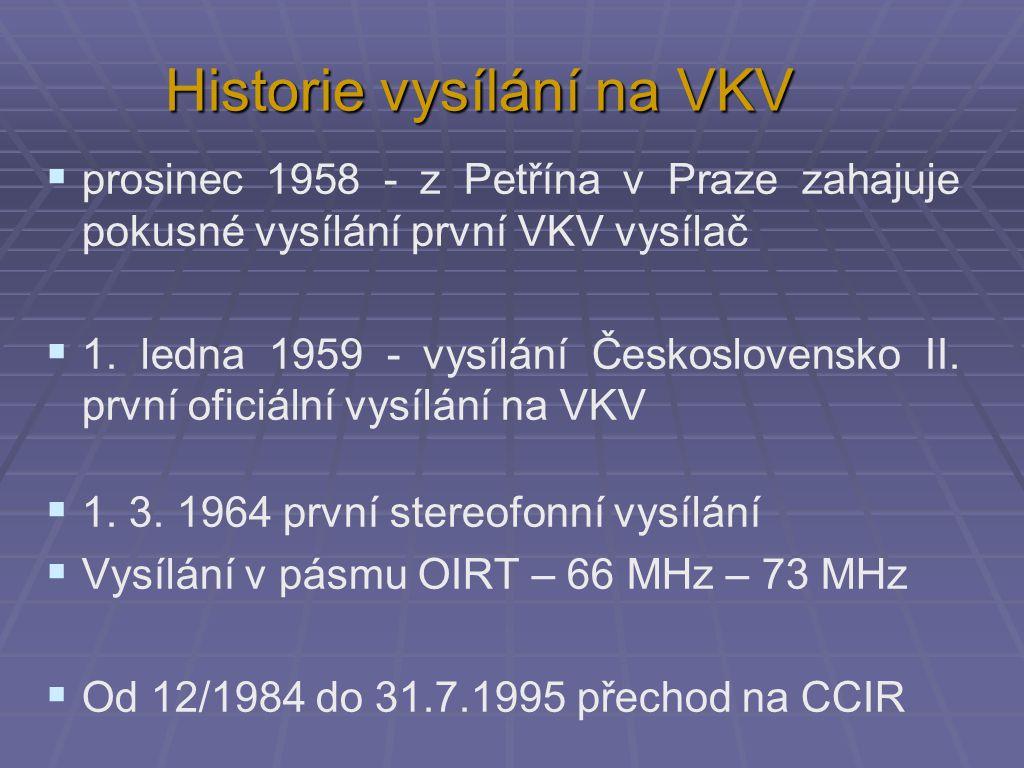 Historie vysílání na VKV  prosinec 1958 - z Petřína v Praze zahajuje pokusné vysílání první VKV vysílač  1. ledna 1959 - vysílání Československo II.