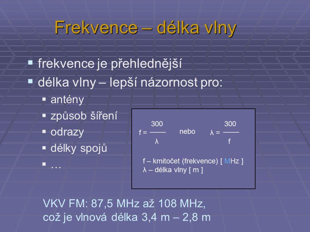 Frekvence – délka vlny  frekvence je přehlednější  délka vlny – lepší názornost pro:  antény  způsob šíření  odrazy  délky spojů  … 300 f = λ 3