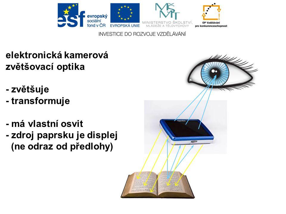 elektronická kamerová zvětšovací optika - zvětšuje - transformuje - má vlastní osvit - zdroj paprsku je displej (ne odraz od předlohy)