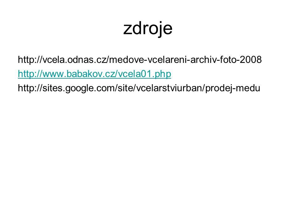 zdroje http://vcela.odnas.cz/medove-vcelareni-archiv-foto-2008 http://www.babakov.cz/vcela01.php http://sites.google.com/site/vcelarstviurban/prodej-m