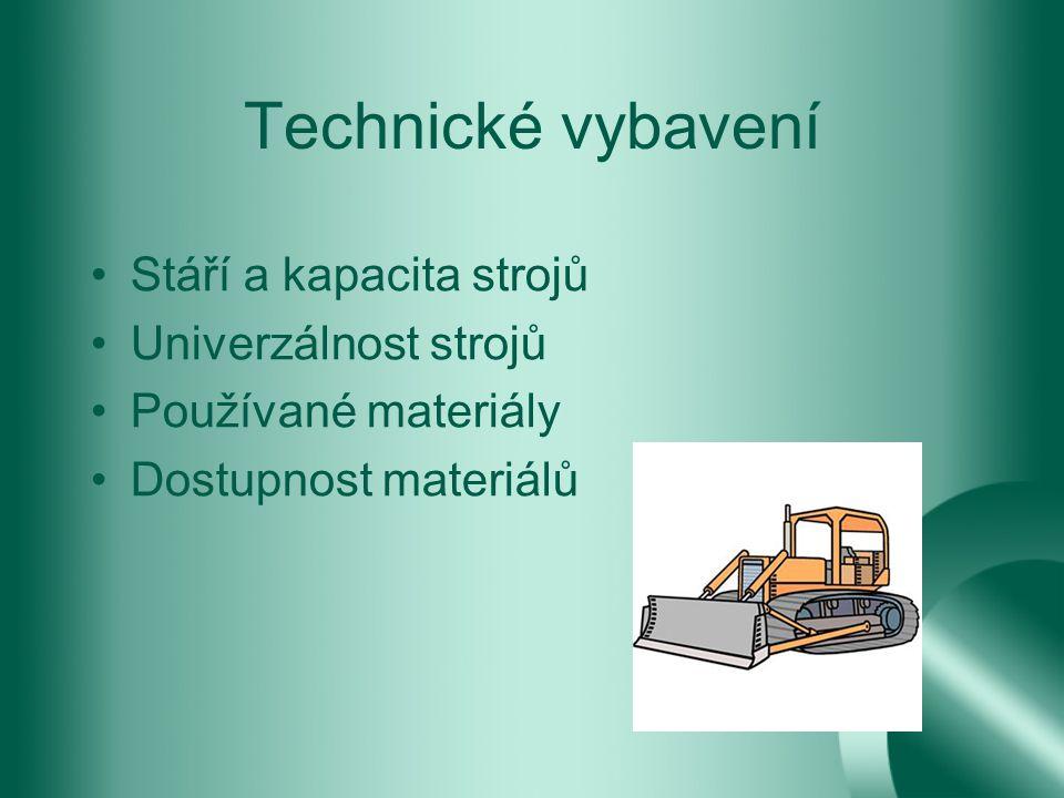 Technické vybavení Stáří a kapacita strojů Univerzálnost strojů Používané materiály Dostupnost materiálů