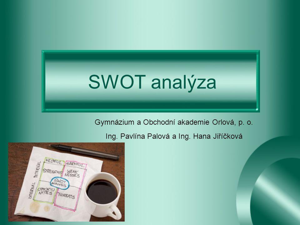 SWOT vychází z počátečních písmen anglických slov –strenghts (silné stránky) –weaknesses (slabé stránky) –opportunities (příležitosti) –threats (hrozby)