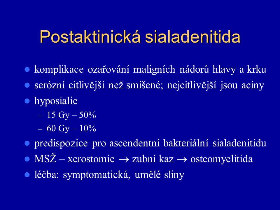 Postaktinická sialadenitida komplikace ozařování maligních nádorů hlavy a krku serózní citlivější než smíšené; nejcitlivější jsou aciny hyposialie – 1