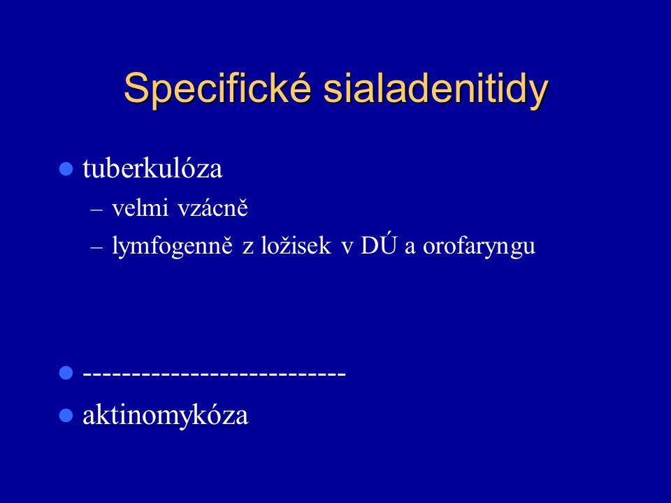 Specifické sialadenitidy tuberkulóza – velmi vzácně – lymfogenně z ložisek v DÚ a orofaryngu --------------------------- aktinomykóza