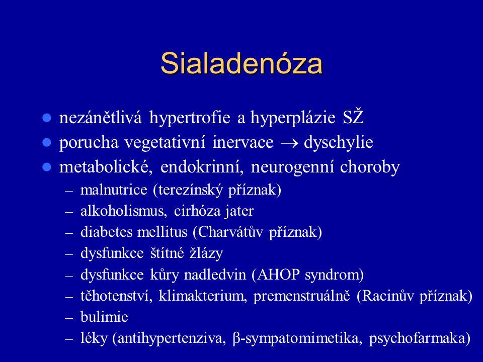 Sialadenóza nezánětlivá hypertrofie a hyperplázie SŽ porucha vegetativní inervace  dyschylie metabolické, endokrinní, neurogenní choroby – malnutrice