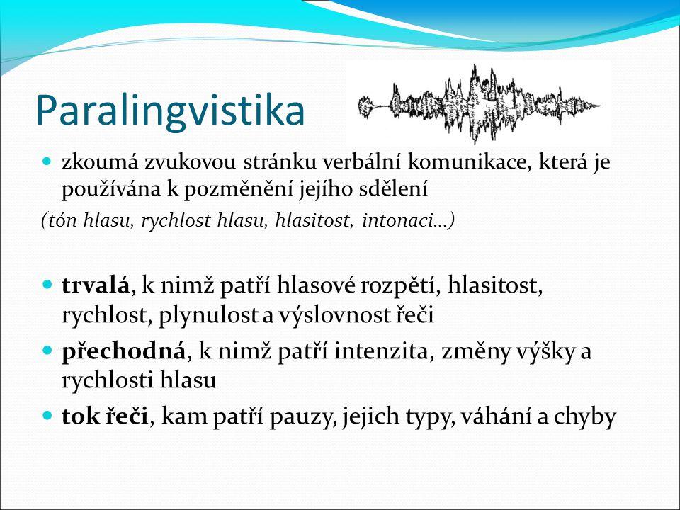 Paralingvistika zkoumá zvukovou stránku verbální komunikace, která je používána k pozměnění jejího sdělení (tón hlasu, rychlost hlasu, hlasitost, into