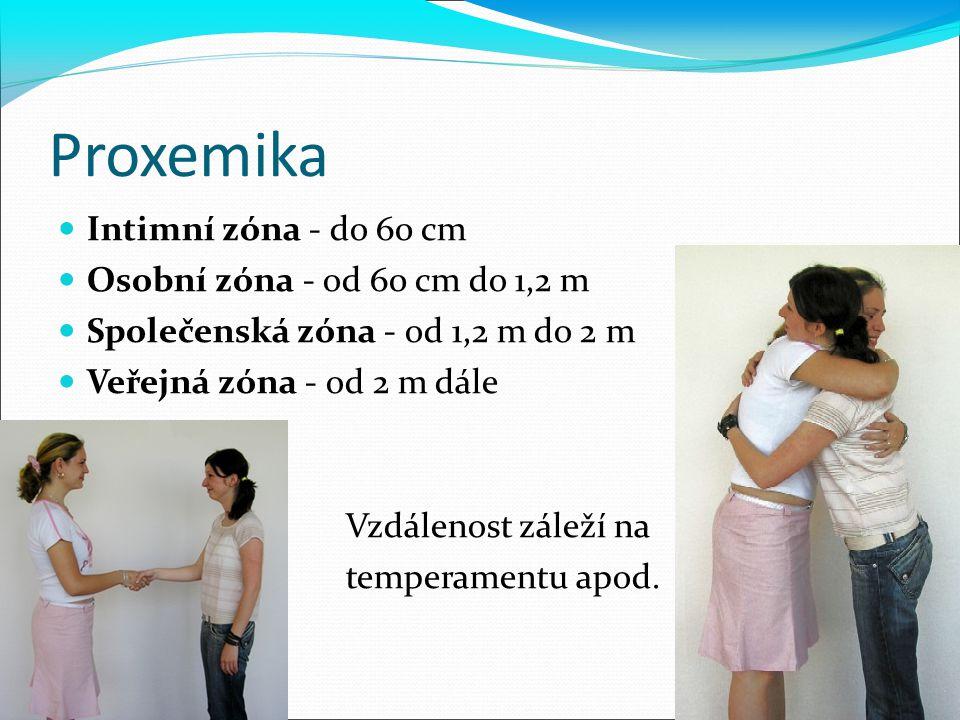Proxemika Intimní zóna - do 60 cm Osobní zóna - od 60 cm do 1,2 m Společenská zóna - od 1,2 m do 2 m Veřejná zóna - od 2 m dále Vzdálenost záleží na t