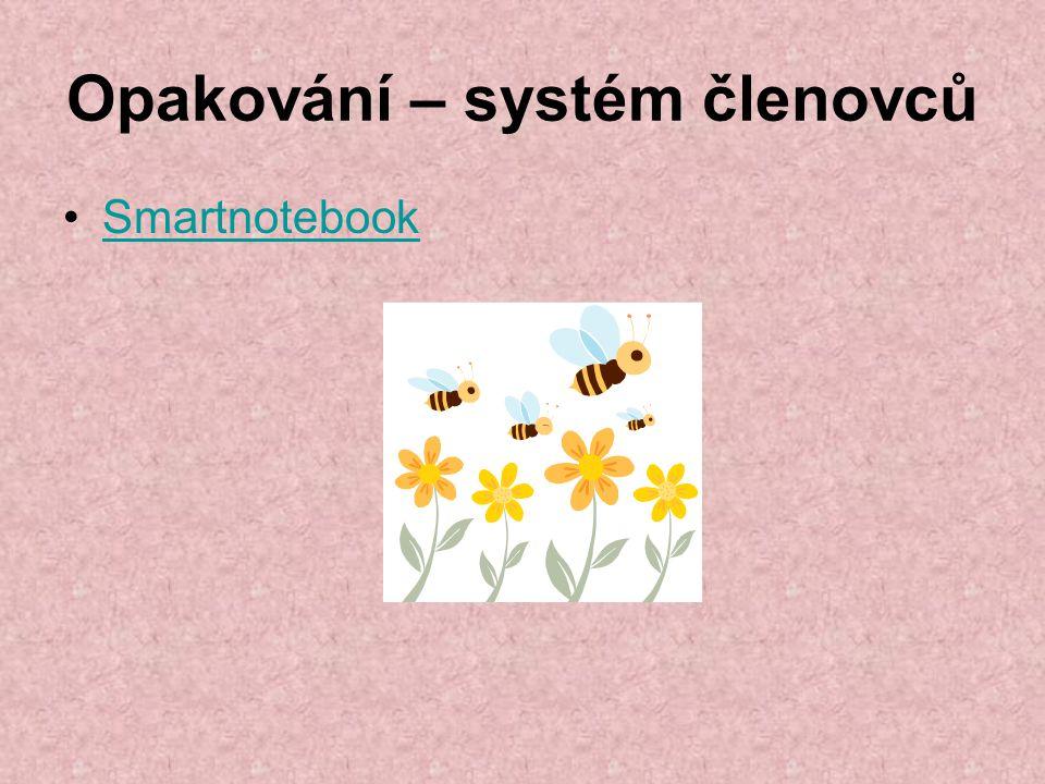 Opakování – systém členovců Smartnotebook