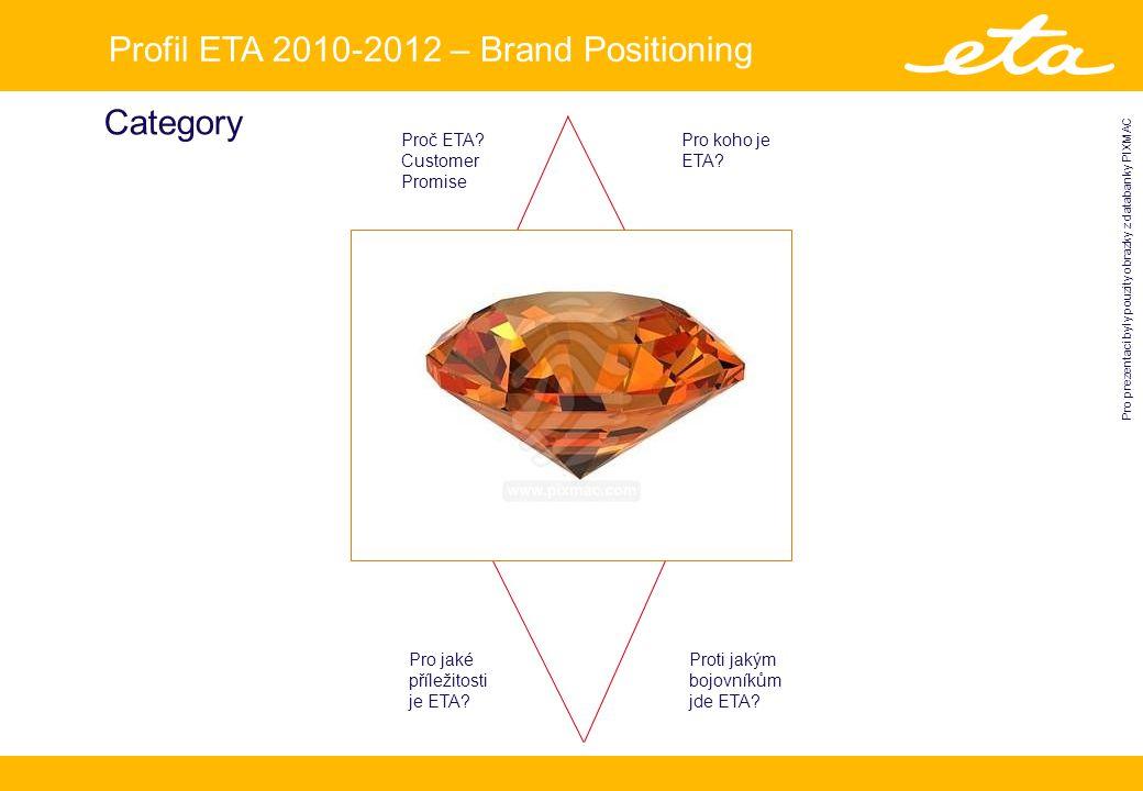 Profil ETA 2010-2012 – Brand Positioning Pro prezentaci byly pouzity obrazky z databanky PIXMAC Category Proč ETA.