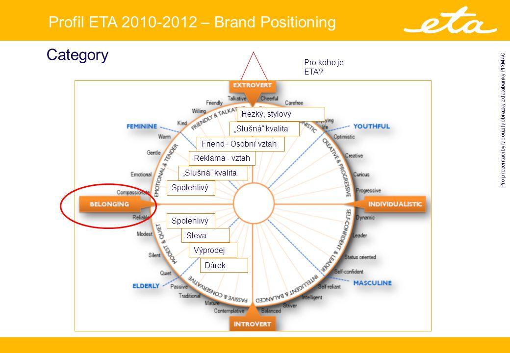 Profil ETA 2010-2012 – Brand Positioning Pro prezentaci byly pouzity obrazky z databanky PIXMAC Category Pro koho je ETA.