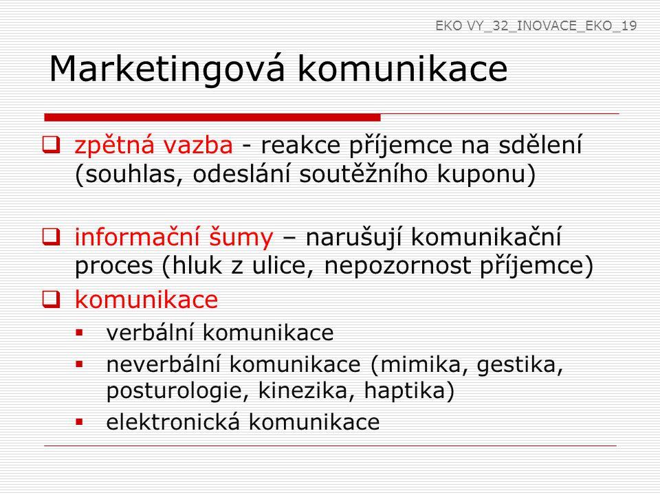 Marketingová komunikace  zpětná vazba - reakce příjemce na sdělení (souhlas, odeslání soutěžního kuponu)  informační šumy – narušují komunikační proces (hluk z ulice, nepozornost příjemce)  komunikace  verbální komunikace  neverbální komunikace (mimika, gestika, posturologie, kinezika, haptika)  elektronická komunikace EKO VY_32_INOVACE_EKO_19