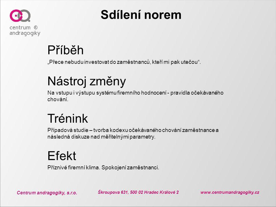 """Centrum andragogiky, s.r.o. Škroupova 631, 500 02 Hradec Králové 2 www.centrumandragogiky.cz Sdílení norem Příběh """"Přece nebudu investovat do zaměstna"""