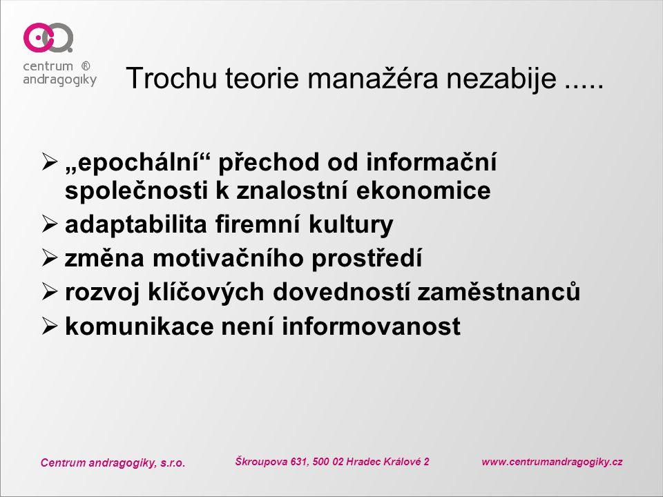 """Centrum andragogiky, s.r.o. Škroupova 631, 500 02 Hradec Králové 2 www.centrumandragogiky.cz Trochu teorie manažéra nezabije.....  """"epochální"""" přecho"""