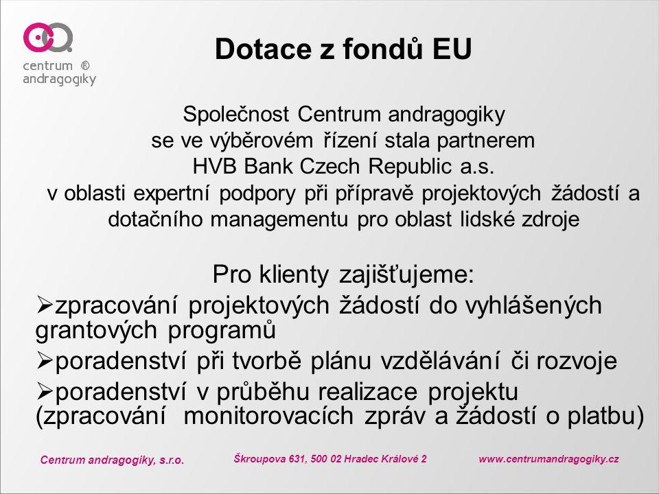 Centrum andragogiky, s.r.o. Škroupova 631, 500 02 Hradec Králové 2 www.centrumandragogiky.cz Dotace z fondů EU Společnost Centrum andragogiky se ve vý