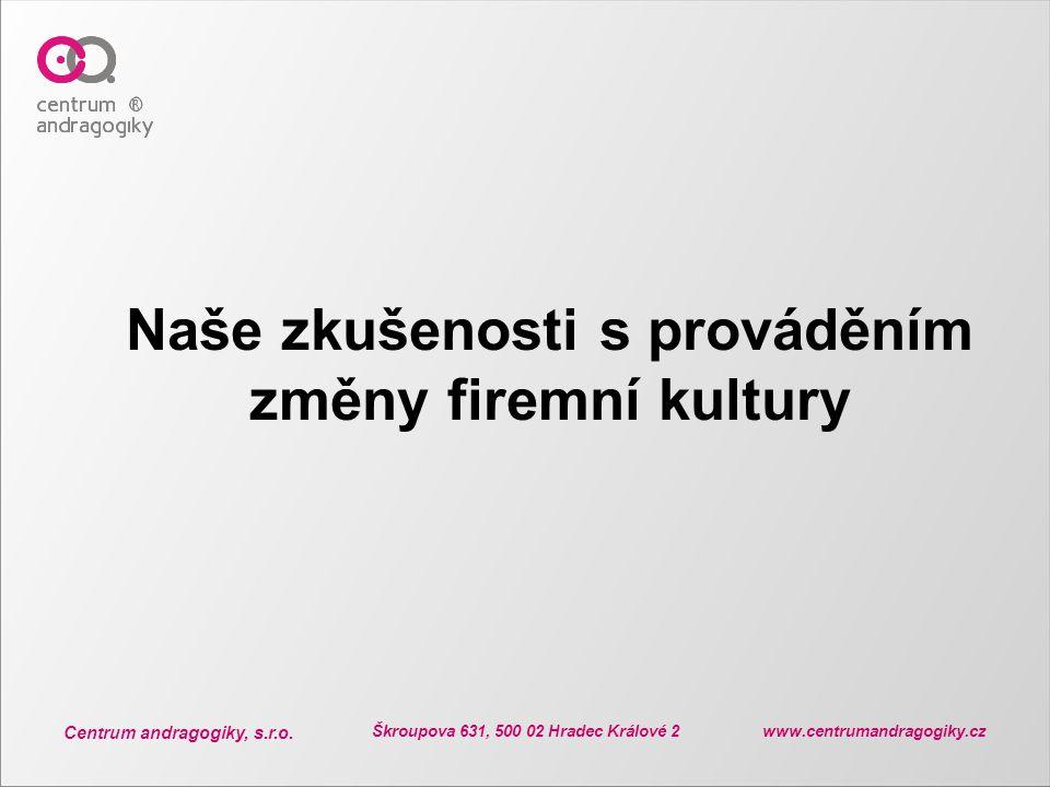 Centrum andragogiky, s.r.o. Škroupova 631, 500 02 Hradec Králové 2 www.centrumandragogiky.cz Naše zkušenosti s prováděním změny firemní kultury