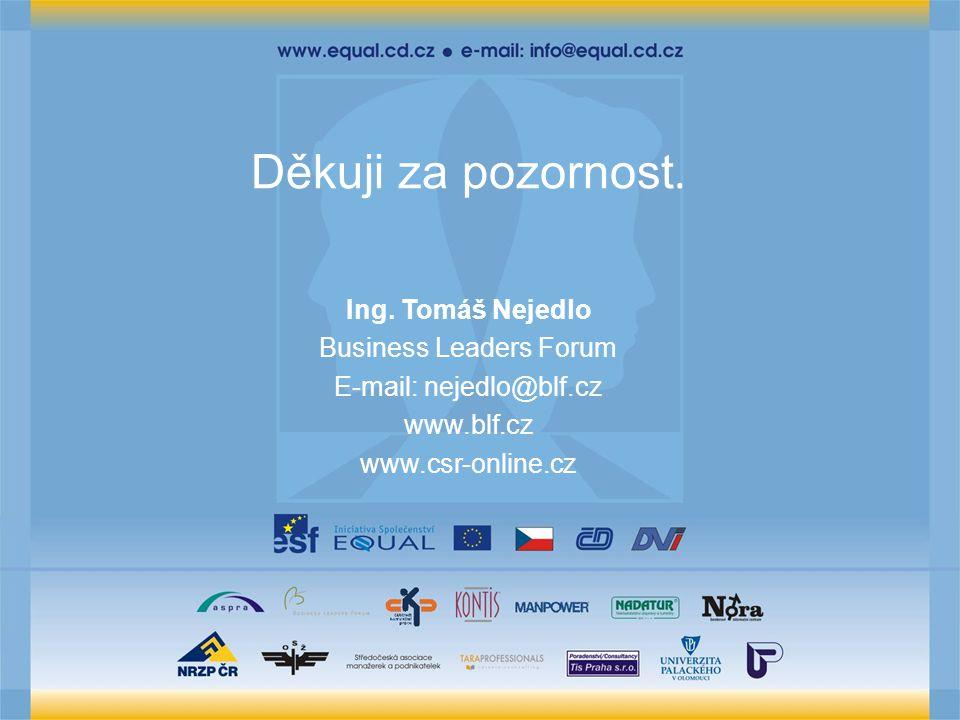 Děkuji za pozornost. Ing. Tomáš Nejedlo Business Leaders Forum E-mail: nejedlo@blf.cz www.blf.cz www.csr-online.cz