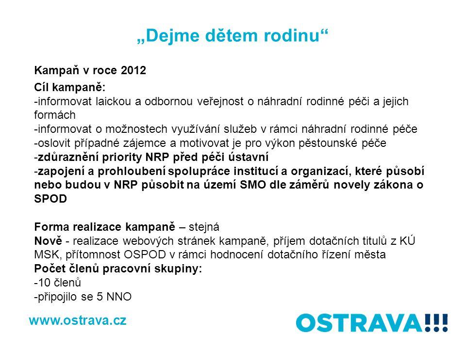 """""""Dejme dětem rodinu"""" www.ostrava.cz Kampaň v roce 2012 Cíl kampaně: -informovat laickou a odbornou veřejnost o náhradní rodinné péči a jejich formách"""