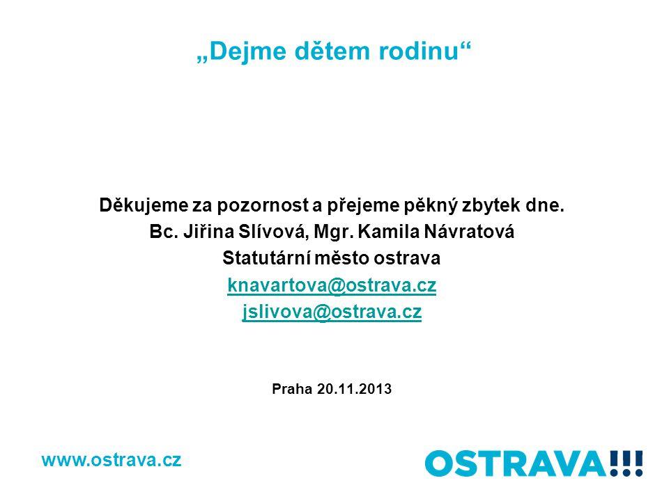 """""""Dejme dětem rodinu"""" Děkujeme za pozornost a přejeme pěkný zbytek dne. Bc. Jiřina Slívová, Mgr. Kamila Návratová Statutární město ostrava knavartova@o"""