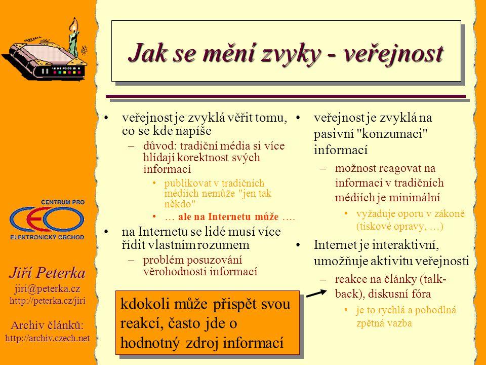 Jiří Peterka jiri@peterka.czhttp://peterka.cz/jiri Archiv článků: http://archiv.czech.net Jak se mění zvyky - veřejnost veřejnost je zvyklá věřit tomu