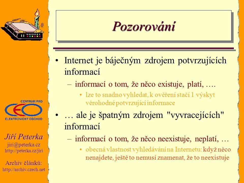 Jiří Peterka jiri@peterka.czhttp://peterka.cz/jiri Archiv článků: http://archiv.czech.net PozorováníPozorování Internet je báječným zdrojem potvrzujíc