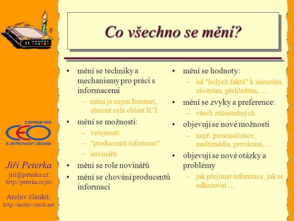 Jiří Peterka jiri@peterka.czhttp://peterka.cz/jiri Archiv článků: http://archiv.czech.net Co všechno se mění? mění se techniky a mechanismy pro práci