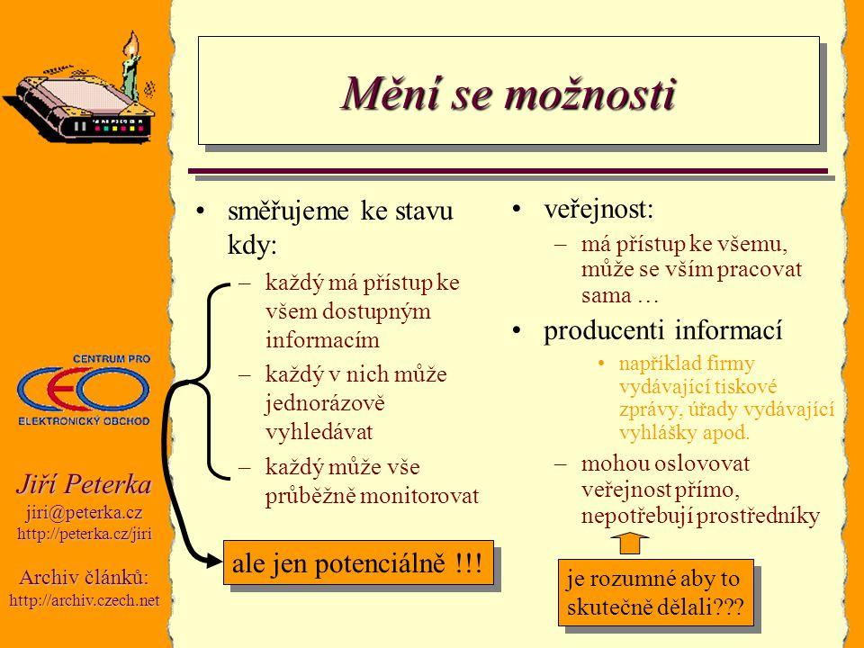 Jiří Peterka jiri@peterka.czhttp://peterka.cz/jiri Archiv článků: http://archiv.czech.net Mění se možnosti směřujeme ke stavu kdy: –každý má přístup k