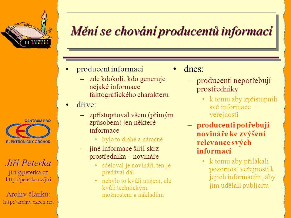 Jiří Peterka jiri@peterka.czhttp://peterka.cz/jiri Archiv článků: http://archiv.czech.net Mění se chování producentů informací producent informací –zd