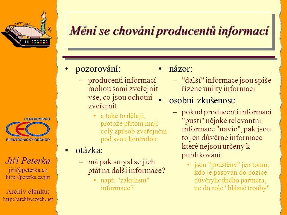 Jiří Peterka jiri@peterka.czhttp://peterka.cz/jiri Archiv článků: http://archiv.czech.net Mění se chování producentů informací pozorování: –producenti