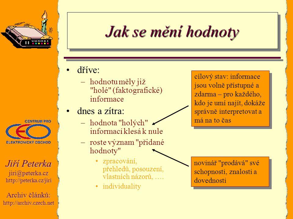 Jiří Peterka jiri@peterka.czhttp://peterka.cz/jiri Archiv článků: http://archiv.czech.net Jak se mění hodnoty dříve: –hodnotu měly již