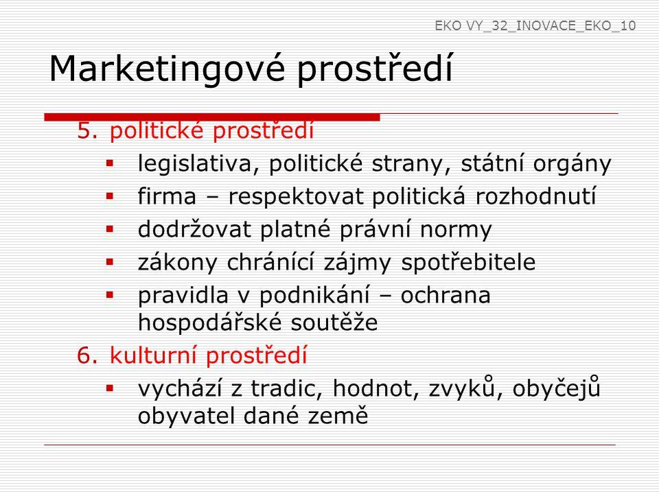 Marketingové prostředí 5.politické prostředí  legislativa, politické strany, státní orgány  firma – respektovat politická rozhodnutí  dodržovat pla