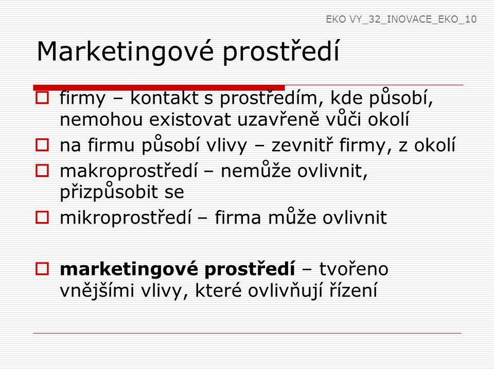 Marketingové prostředí  firmy – kontakt s prostředím, kde působí, nemohou existovat uzavřeně vůči okolí  na firmu působí vlivy – zevnitř firmy, z okolí  makroprostředí – nemůže ovlivnit, přizpůsobit se  mikroprostředí – firma může ovlivnit  marketingové prostředí – tvořeno vnějšími vlivy, které ovlivňují řízení EKO VY_32_INOVACE_EKO_10