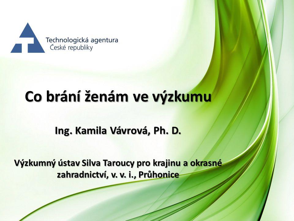 Co brání ženám ve výzkumu Ing. Kamila Vávrová, Ph. D. Výzkumný ústav Silva Taroucy pro krajinu a okrasné zahradnictví, v. v. i., Průhonice