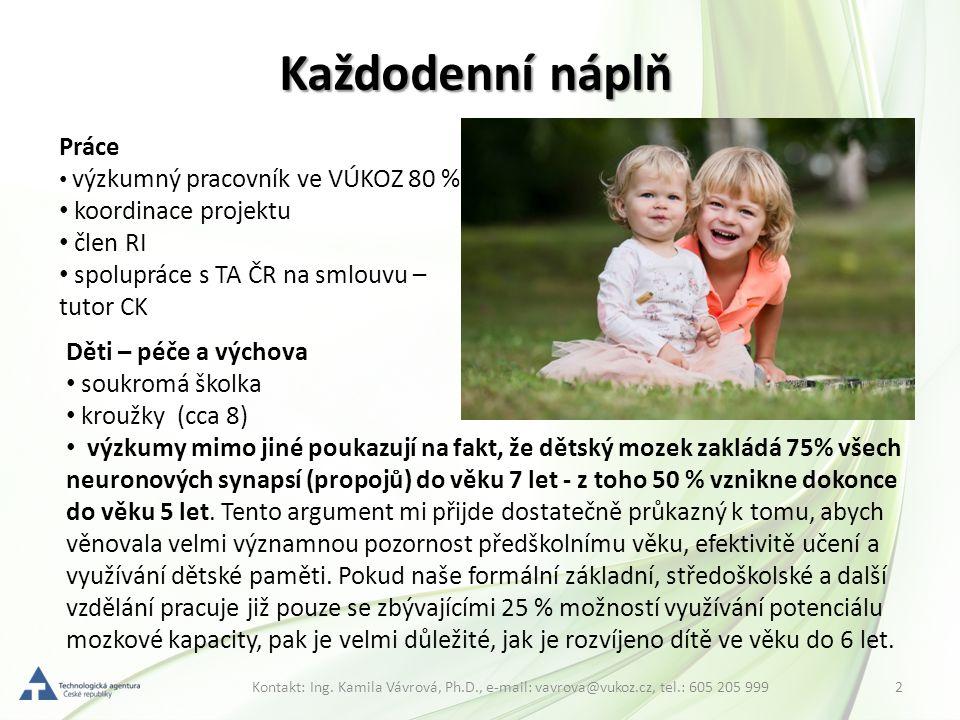 2Kontakt: Ing. Kamila Vávrová, Ph.D., e-mail: vavrova@vukoz.cz, tel.: 605 205 999 Každodenní náplň Práce výzkumný pracovník ve VÚKOZ 80 % koordinace p
